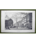 GERMANY Saxony Gottingen Main Square - 1820s Copper Engraving Cpt BATTY - $18.36