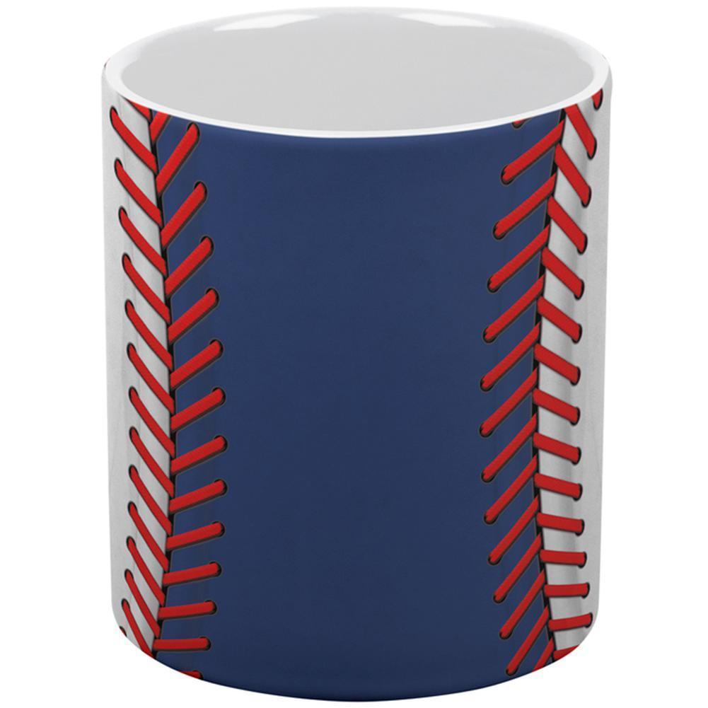 Baseball League Blue and White All Over Coffee Mug