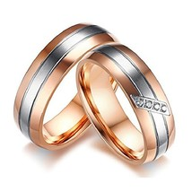 GINBL 6mm Rose Gold Plated Men Titanium Couple Ring Cubic Zirconia Women... - $13.24
