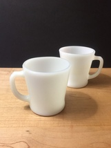 Set of 2 White D-Handle Fire King Mugs