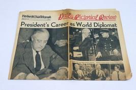ORIGINAL Vintage Apr 13 1945 Death of FDR WWII Pittsburgh Sun Newspaper ... - $59.39