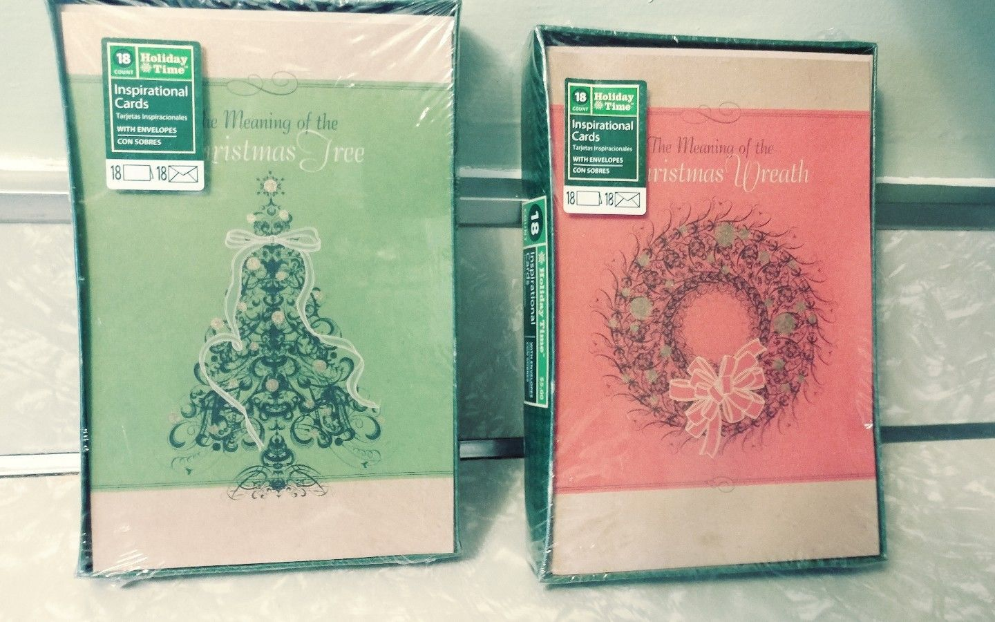 lot of 2 boxed religious christmas cards 18 count each with envelopes new