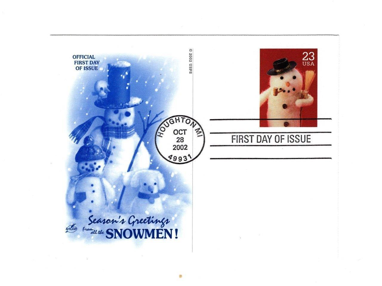 "POSTCARD- #3 ""SEASON'S GREETING FROM ALL THE SNOWMEN""-FIRST DAY ISSUE  BK10"