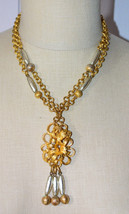 Gold Silver Bead Beaded Tassel Dual Stranded Gold Chain Pendant Necklace... - $39.59