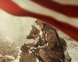 Megan Leavey Kate Mara with dog and American Flag 16x20 Canvas Giclee - $69.99