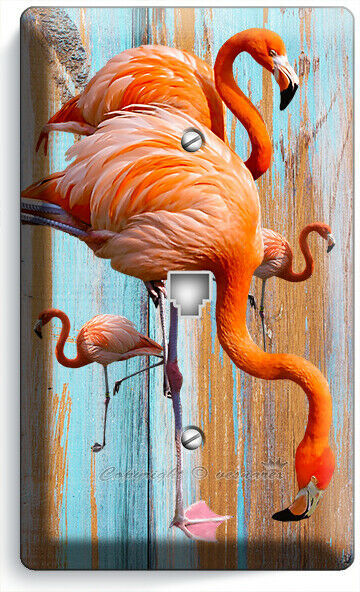 TROPICAL PINK FLAMINGO WORN OUT WOOD PHONE TELEPHONE WALL PLATE COVER ROOM DECOR