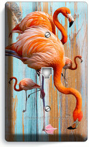 TROPICAL PINK FLAMINGO WORN OUT WOOD PHONE TELEPHONE WALL PLATE COVER RO... - $12.99