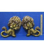 Vintage 1970's Homco Animated Wall Hanging Lion Cats Gold Tone Set of 2 - $13.85