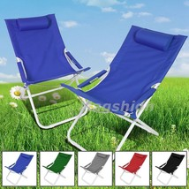 2 Outdoor Patio Pool Beach Picnic Fishing Camping Lounge Recliner Chair w Pillow - $49.99