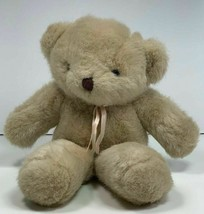 """Vintage Dakin Tan Beige Plush Very Soft Teddy Bear Plush w/ Ribbon 9"""" 1990 - $29.65"""