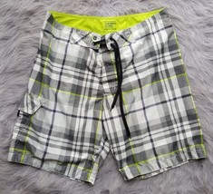 OLD NAVY Mens Bathing Swim Trunks Board Shorts Gray Green Plaid Sz Large... - $9.49