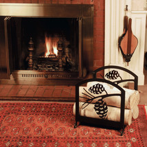 """16""""  Black  Wrought Iron Fireplace Wood Rack Choice of Pine Cones or Moo... - $157.95"""