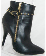 Justfab black man made pointed toe studded side zip ankle boots 6.5M 5789 - $37.04