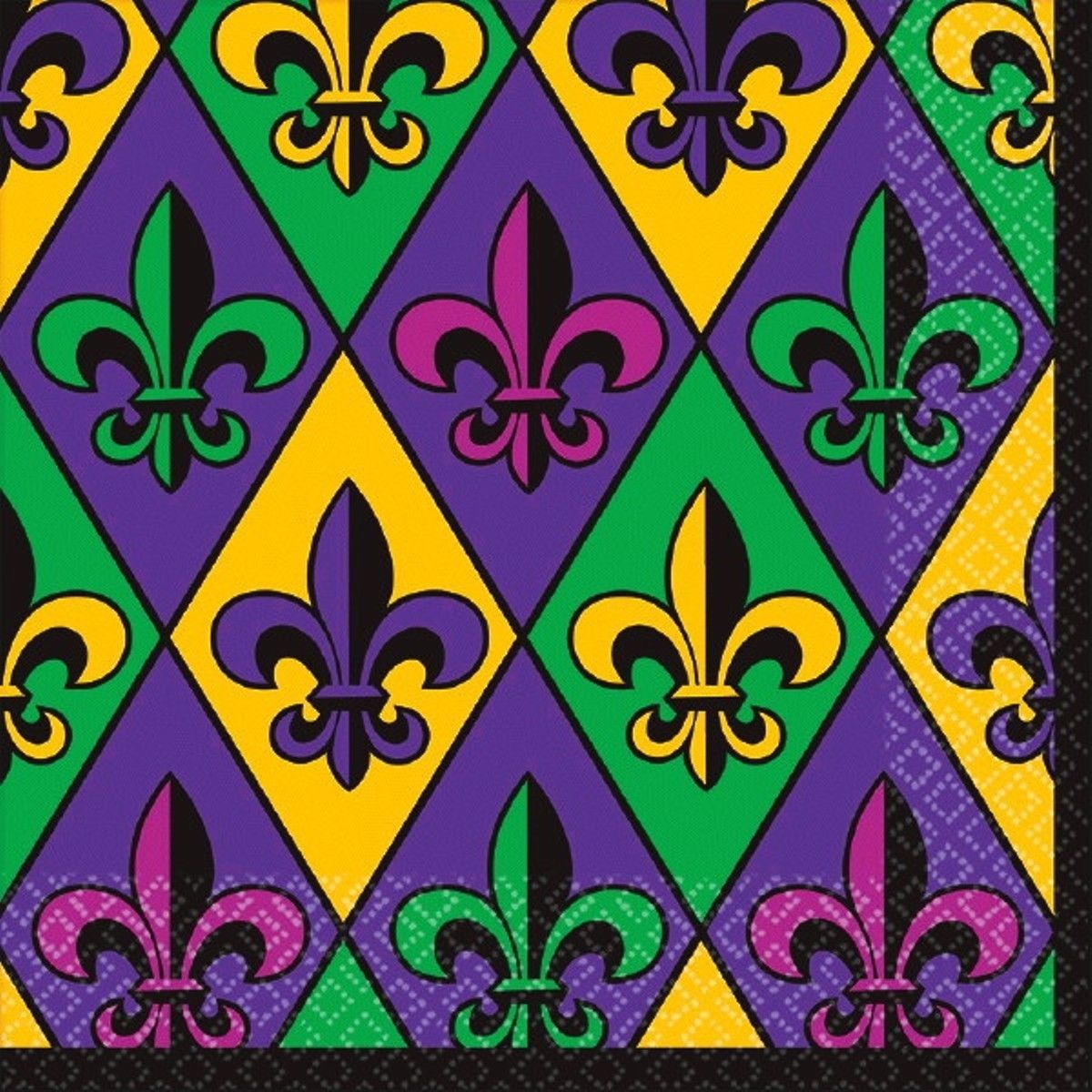 Fleur De Lis 36 ct Lunch Napkins Value Size Mardi Gras