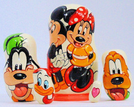 5pcs Hand Painted Russian Nesting Doll of Mickey & Minnie Mouse (4.25 in... - $24.70