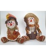 "Plush Boy & Girl Sitting Scarecrow Figurine Set Fall Halloween Decor 11""H - $29.65"