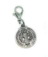 Saint St Benedict Silver Tone Cross Medal Medallion Key Chain Ring Lobst... - $4.78
