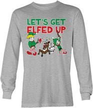 """Let""""s Get Elfed Up- Christmas Santa Xmas Drink Reindeer  LS Mens T-Shirt - $44.80"""