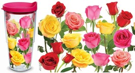 Tervis Tumbler 24oz Double Wall Insulated Mug Cup Rose Floral w Pink Tra... - $25.00