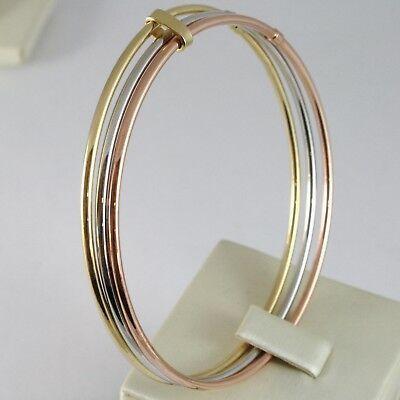 Bracelet Rigide en or Jaune Blanc et Rose 750 18K, Triple, Tris, Canne à Lisser image 2