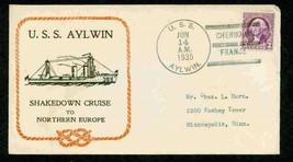 USA 1935 CACHETED FDC SHAKEDOWN CRUISE  WASHINGTON U.S.S. AYLWIN 4551-RD-1 - $9.90