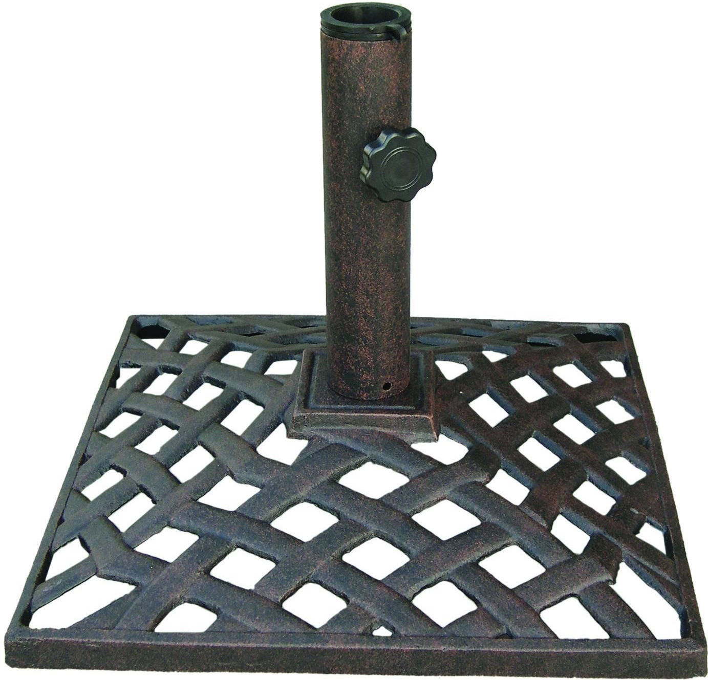 Umbrella Base Stand Cast Aluminum 50Lbs Nassau Weave Bronze