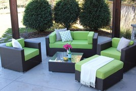 6 Piece Brown Wicker Outdoor Sectional Patio Set Hubbard New - £852.57 GBP