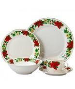 Gibson Home Poinsettia Holiday 20 Piece Ceramic Dinnerware Set - $83.99