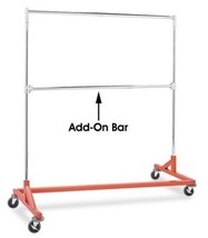 Only Hangers GR400EH Commercial Grade Double Bar Rolling Z Rack with Nesting Ora