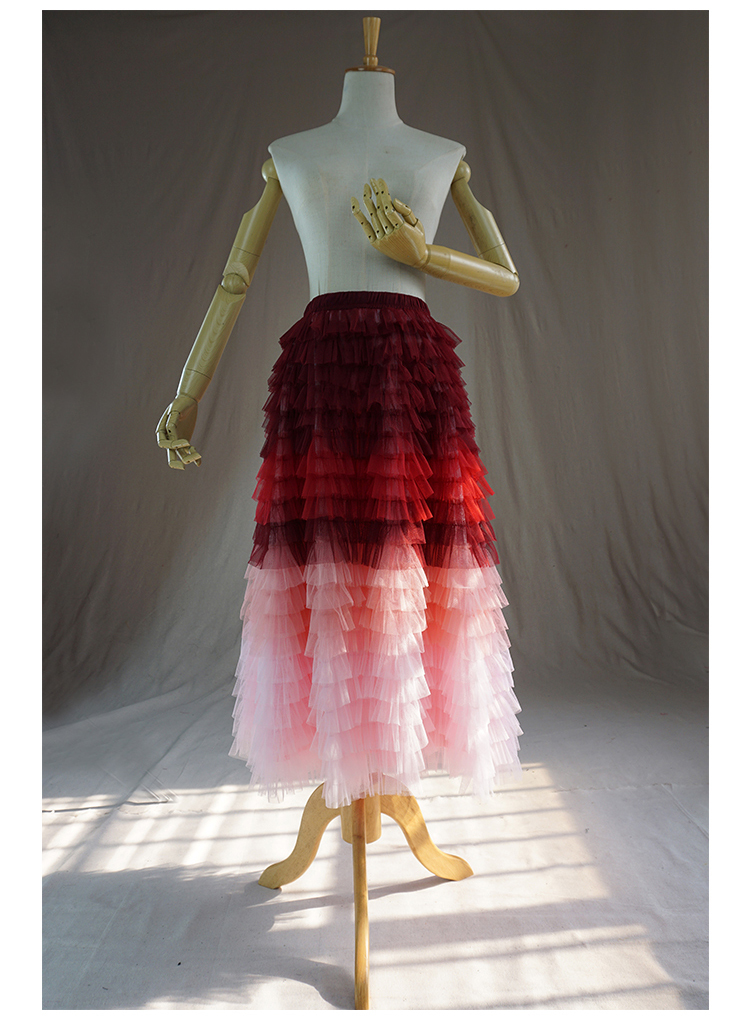 Red pink tulle skirt 1