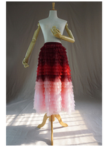 Women Layered Tulle Skirt Wedding Skirt High Waist Party Prom A-line Tulle Skirt image 4