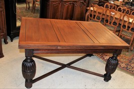 English Antique Oak Jacobean Draw Leaf Dining Room Table / Kitchen Table - $1,725.00