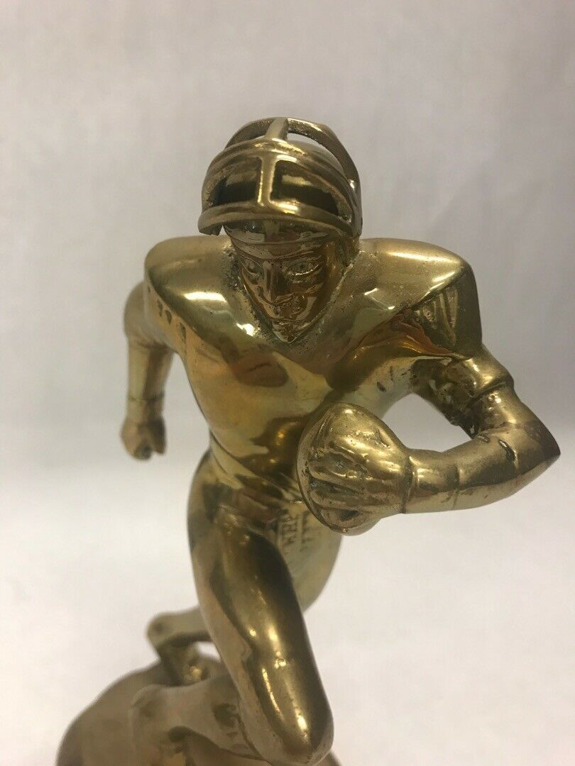 Solid Brass football player statue Vintage American NFL Sculpture moving mask