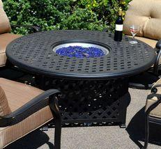 Fire Pit Table Set Elisabeth Propane 5pc Patio Furniture Outdoor Dining Aluminum image 3