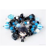 Rin Okumura Charm Bracelet, Black, Blue, Silver, Handmade Jewelry, Anime - $69.00