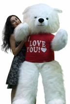 American Made Giant 6 Foot White Teddy Bear Wears I LOVE YOU T-Shirt Sof... - $143.21