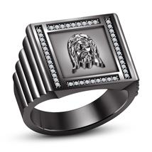 14k Black Gold Plated 925 Silver Round Cut White CZ Men's Christian Jesus Ring - $114.50
