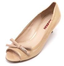 PRADA SPORT Patent Leather Nude Bow Peep Toe Pump Silver Kitten Heel Sz 37 image 3