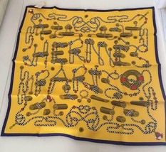 Hermes Carre 70 Scarf Bandana VINTAGE CORDAGES Yellow Purple Silk Auth N... - $364.34