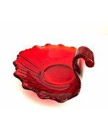 Ruby Red Glass Dish Decorative Trinket Ring Bowl 5 inches Across - $22.76