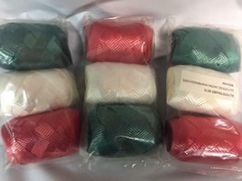 3 packs of 3 (9) Christmas Gift wrapping Curling Ribbon eggs Green White... - $2.96
