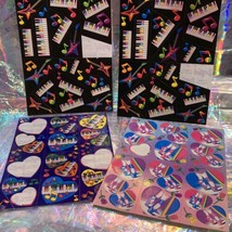 90s Lisa Frank Incomplete Sticker Sheet Pianos Ballet Shoes Hearts Guitars Music image 1