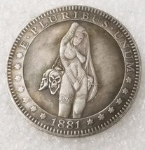 New Hobo Nickel 1881 USA Morgan Dollar Kinky Girl Demon Skull BDSM COIN ... - $11.99
