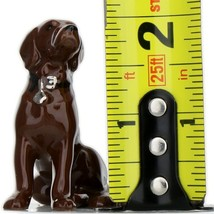 Hagen Renaker Dog Labrador Retriever Sitting Chocolate Ceramic Figurine image 2