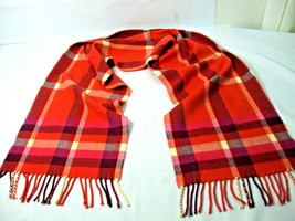 "C.O.J Neck Scarf 100% Cashmere Red Orange Brown Plaid 3"" Fringe Germany ... - $19.79"