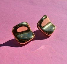 Vintage AVON Gold Tone Post Earrings VTG 80's Square Jewelry - $7.97