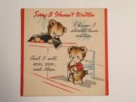 "Vintage Unused Hallmark ""Sorry I Haven't Written"" Card, Kittens In Court Scene - $3.75"