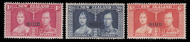 1937 Coronation Set of 3 Niue Postage Stamps Catalog Number 70-72 MNH