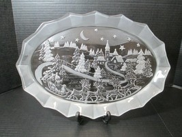 MIKASA Silent Night Christmas Frosted Glass Serving Dish Plate Platter 1... - $29.80