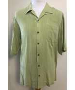 Tommy Bahama Silk Shirt XL Green Geometric Textured Short Sleeve Button ... - $29.65